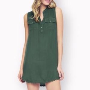 Raw Edge Dress Military